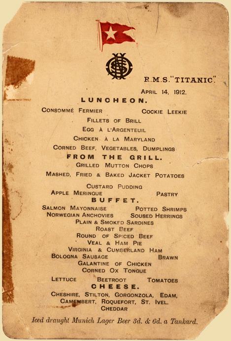 Titanik'te son yemek