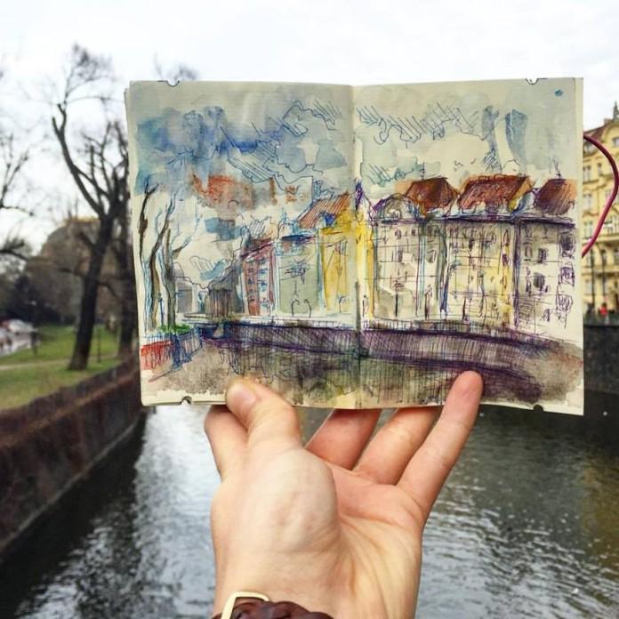 Prag çizim sanat manzara
