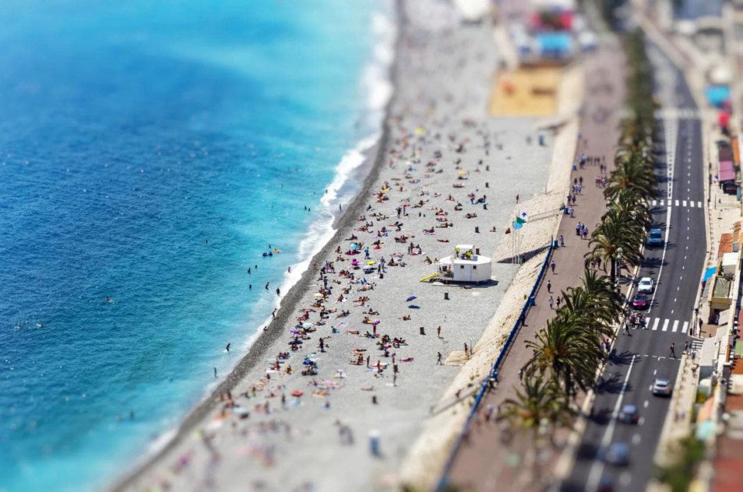 minyatür etkisi tilt-shift nice fransa plaj