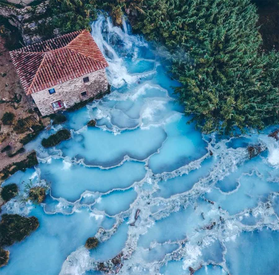 saturnia drone fotoğrafı kaplıca