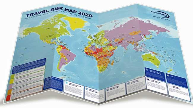 seyahat için en riskli ülkeler haritası